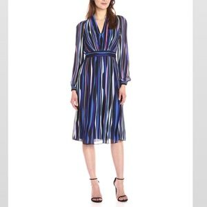 "Anne Klein ""Georgette"" striped dress NWT"